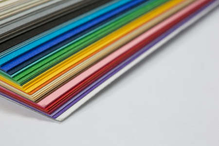 edge of the stack of colored paper for artwork Stock Photo