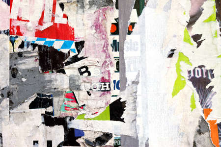 word art: abstract background from scraps of posters