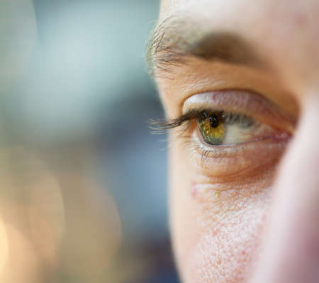eye of young european man, small depth of field Stock Photo