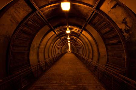 old dark red tunnel