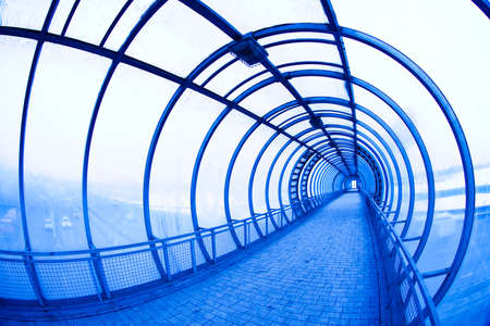 blue covered air bridge  Moscow City