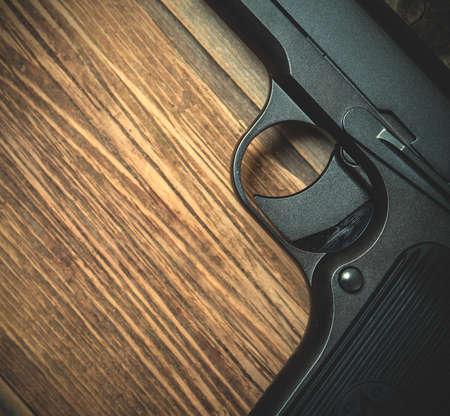 Vintage Soviet Russian handgun. part of. close up. instagram image filter retro style