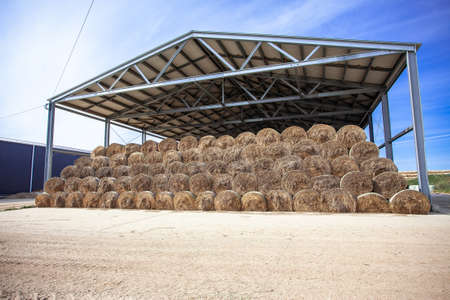 sloping hay under a canopy. hay store