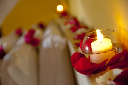 a room decorate with roses and lights photo