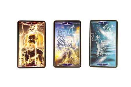 cartomancy: Tarot cards on white background. Quantum tarot deck. Esoteric background