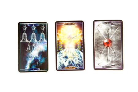cartomancy: Tarot cards on white background. Quantum tarot deck. Esoteric background. Editorial