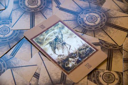 cartomancy: Tarot card Death. Labirinth tarot deck. Esoteric background.