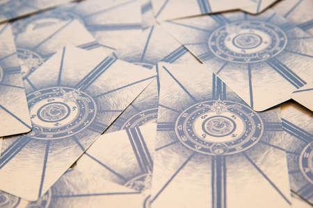 cartomancy: Moscow, Russia - January 29, 2017: Tarot cards. Labirinth tarot deck. Esoteric background Editorial