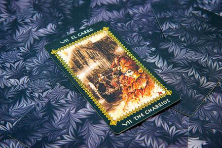 cartomancy: Moscow, Russia - January 29, 2017: Tarot card The Chariot. Favole tarot deck. Esoteric background
