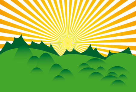 The hot summer sun above green land Vector