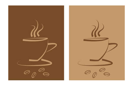 Two coffee logo design templates, coffe cup Vector