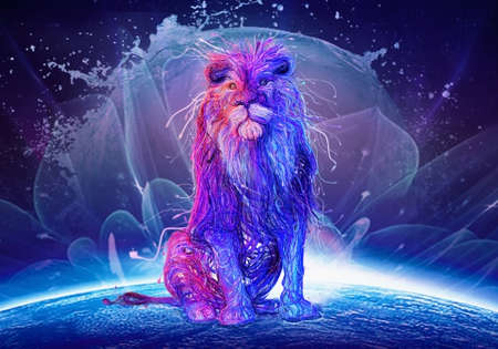 Abstract multicolored lion sitting on top of a colorful earth With an abstract Watery background