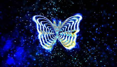 A multilayer abstract multicolored butterfly in a blue abstract background