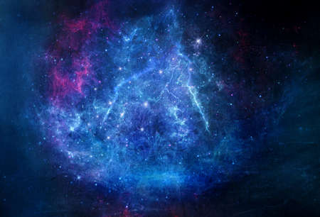 Abstract artistic blue electrifying galaxy artwork on a gradient blue background Stock Photo