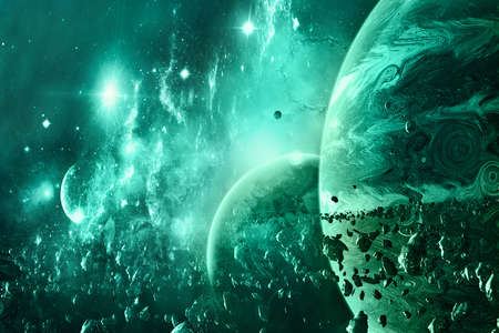 Artistic abstract green theme planet horizon and its moon surrounded by asteroids breaches in a bright galaxy background