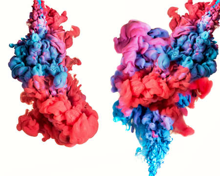 Ink in water. Splash paint mixing. Multicolored liquid dye. Abstract sculpture background.