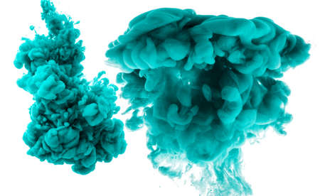 Abstract cyan cloud of silky ink in water on white isolated background. Imagens