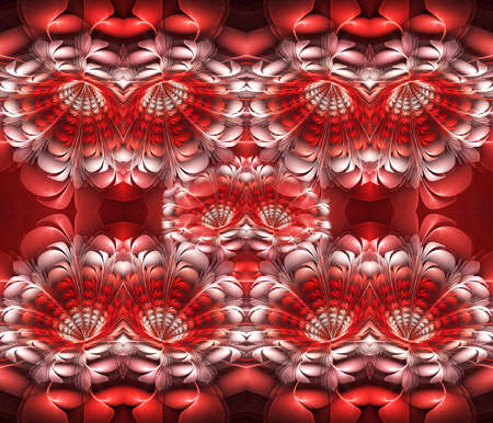 3d computer generated abstract exotic flowers fractal design in a never-ending pattern, colorful flower Stock Photo - 121376185