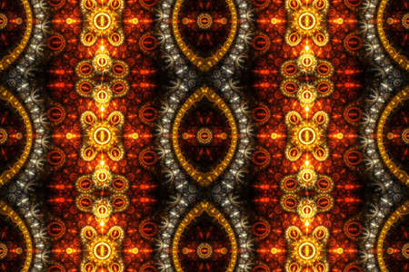 Artistic 3d computer generated bright abstract red and yellow fractal artwork Design pattern artwork on a black background