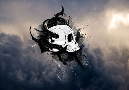 Artistic abstract drawn of a black and white dragon skull on a bright colorful cloudy background