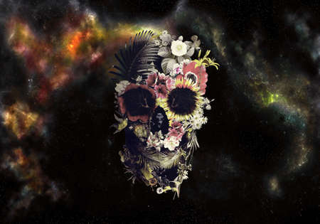 Artistic abstract illustration of a skull in roses in a colorful deep space nebula background