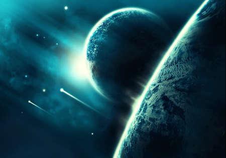 Espacio colorido abstracto lleno de cometas cayendo en un fondo de horizonte de planeta abstracto