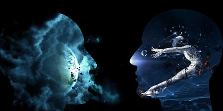 Abstract artistic 3d illustration of two galactic artificial intelligent interface one with a human in space pushed in it and the other is cloudy nebula space on a black background
