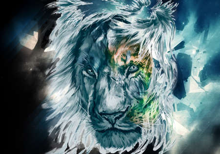 Artistic Abstract multicolored watercolor of a lion face as a unique artwork on a colorful nebula background