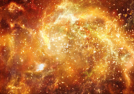 Artistic beautiful abstract unique multicolored fiery nebula galaxy artwork in deep space universe