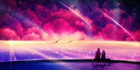 Künstlerisches digitales Gemälde eines Mannes und einer Frau, die sich in einem Raumschiff sitzen und durch andere bunte Welten reisen