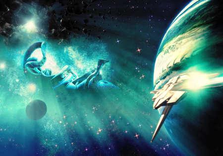 Artistic colorful planet horizon in a bright multicolored nebula galaxy as a unique artwork background Imagens