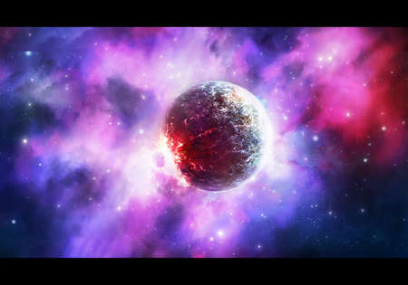 Abstract rendering illustration of a powerful explosion of a planet in a multicolored energetic nebula galaxy background