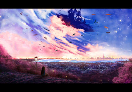 Artistic abstract illustration of a digital drawing of a young girl setting on the top of a mountain enjoying the view of a bright city and a multicolored beautiful sky Banque d'images - 127538321