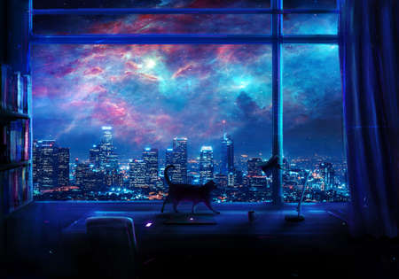 Abstract artistic digital paint of an empty office desk with a cat walking on top of it and a galactic multicolored skyscraper view at night from the window Banque d'images - 132552626