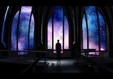 Artistic digital painting of a man standing alone in a palace looking from the window at a unique colorful galactic nebula view Banque d'images - 132552628
