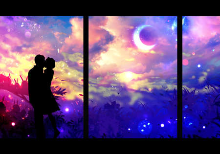 Abstract artistic digital painting of a man romantically kissing a woman in a multicolored galactic nebula view from the window Banque d'images - 132552686
