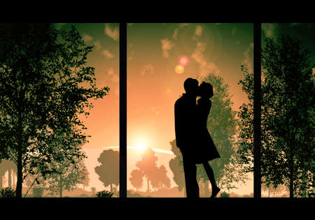 Abstract artistic digital painting of a man romantically kissing a woman in a beautiful sunset view from the window Banque d'images - 132552687