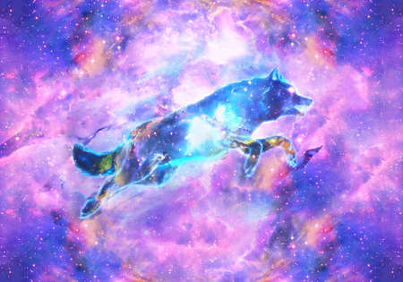 Abstract artistic digital paint of a colorful wolf jumping ahead in a multicolored galactic nebula background as a unique artwork