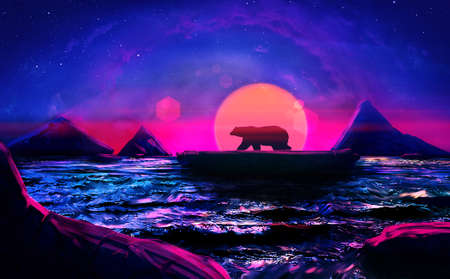 Artistic rendering illustration of a bear alone in the sea. Banque d'images - 131609166
