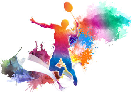 Abstract rendering illustration of a colorful tennis player with a racket from splash of smoke and watercolors on a white background. Stock fotó