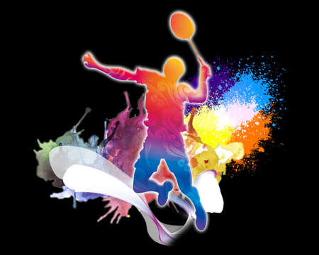 Abstract colorful rendering illustration of a tennis player with a racket from splash of smoke and watercolors on a black background. Banque d'images - 132552710
