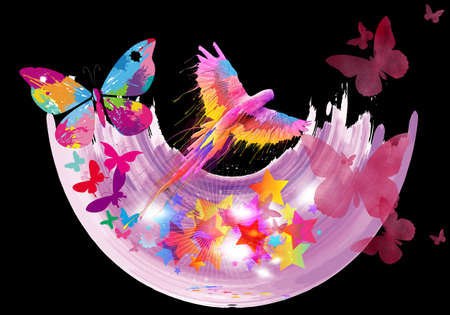 Artistic abstract rendering illustration of a tropical theme of a colorful bird and butterflies on a rainbow on a black background Фото со стока