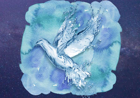 Abstract artistic unique rendering illustration of a dove made out of water splashes all over a multicolored nebula background Banque d'images - 132552715