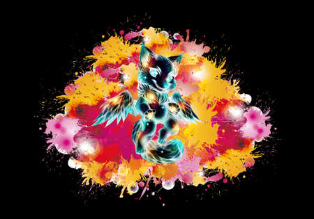Artistic abstract rendering illustration of a multicolored glowing baby lion angel on a unique watercolor artwork Banque d'images - 132552772