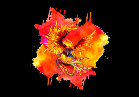 Artistic abstract rendering illustration of a multicolored fiery phoenix bird on a unique watercolor artwork