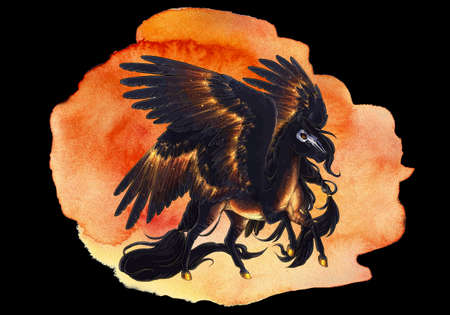 Artistic abstract rendering illustration of a dark fiery horse with wings on a unique watercolor artwork Banque d'images - 131609592