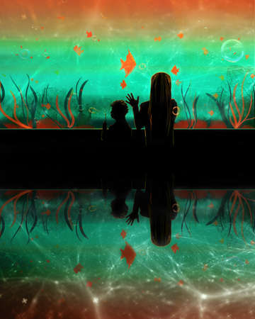 Artistic rendering illustration of a woman with her kid in an aquarium watching colorful fishes. Banque d'images - 131609681