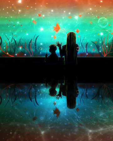 Artistic rendering illustration of a flashy theme of a woman with her kid in an aquarium watching colorful fishes. Banque d'images - 131609132