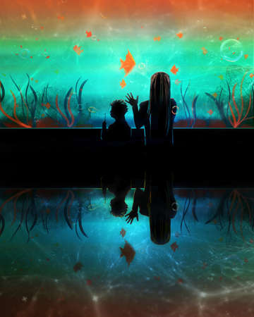 Artistic rendering illustration of a woman with her kid in an aquarium watching colorful fishes.