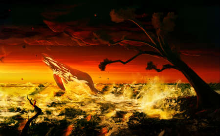 Abstract artistic rendering illustration of a fantasy whale jumps out of the sea in a dark angry theme artwork Banque d'images - 131609174